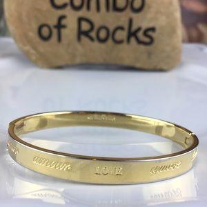 Stella & Dot XOXO Gold Toned Hinge Bangle Bracelet